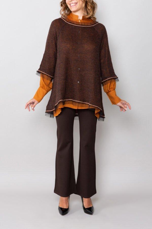 maglia ortigia marrone maniche a tre quarti abbigliamento donna inclusivo roderi